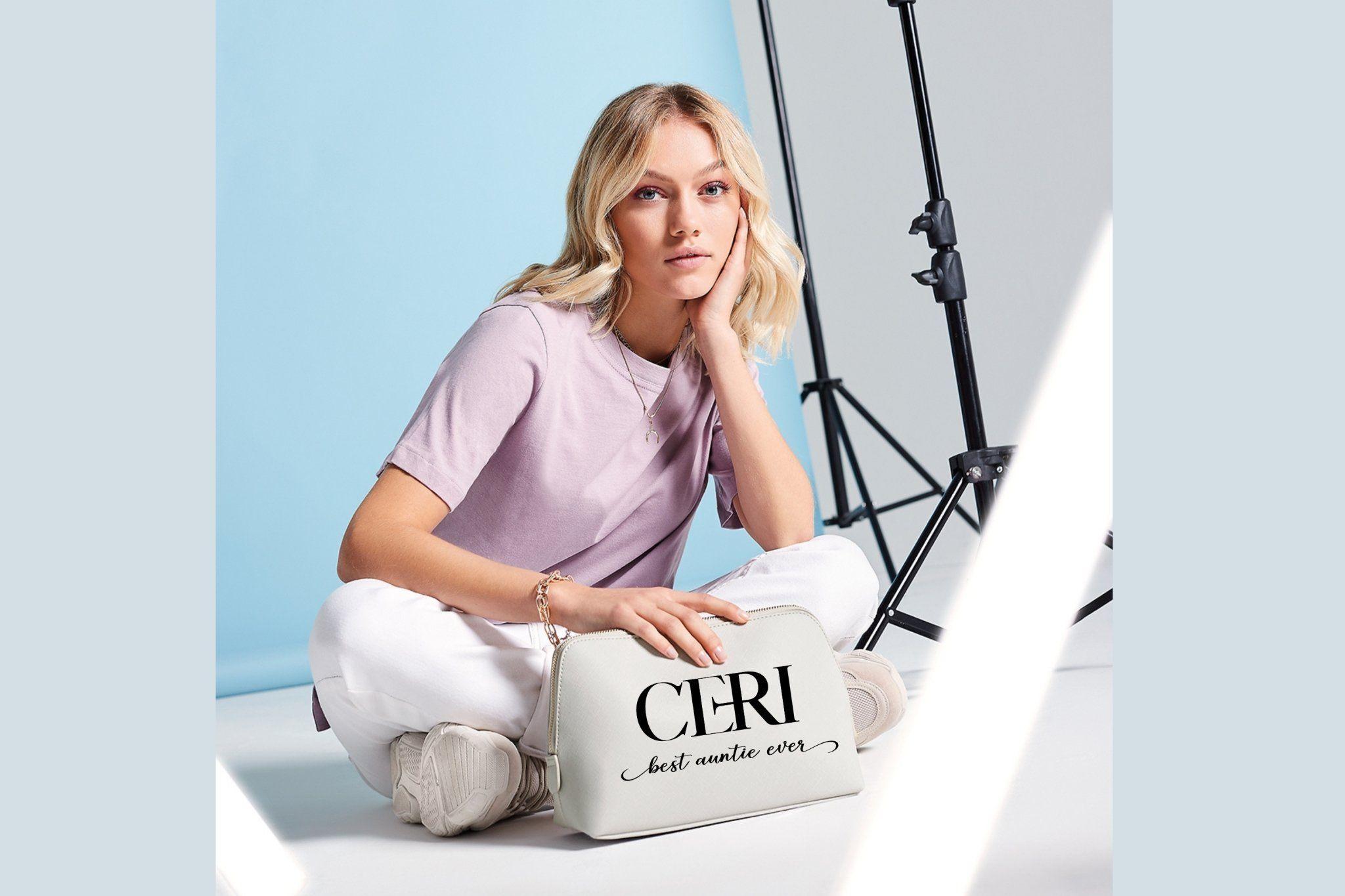 Personalisierte Kosmetiktasche aus Kunstleder Make-up Aufbewahrungstasche – Grau Beauty