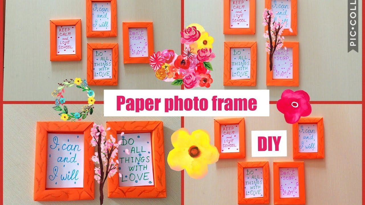 How To Make Paper Frame Photo Frame Diy Wall Decoration