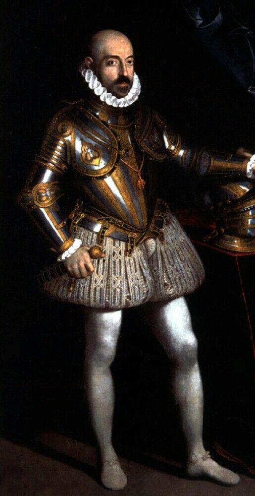 Portrait de Marcantonio Colonna, 1575 Scipione Pulzone. (Image mise à l'envers). Ce tableau suit la grande tradition des portraits en pied des commandants en chef en armure, qui repose sur les compositions du Titien