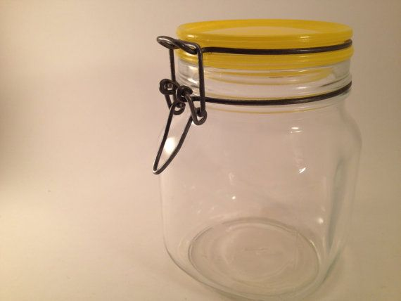 Vintage Storage Jar with Yellow Lid by ShopBettyVintage on Etsy, $10.00