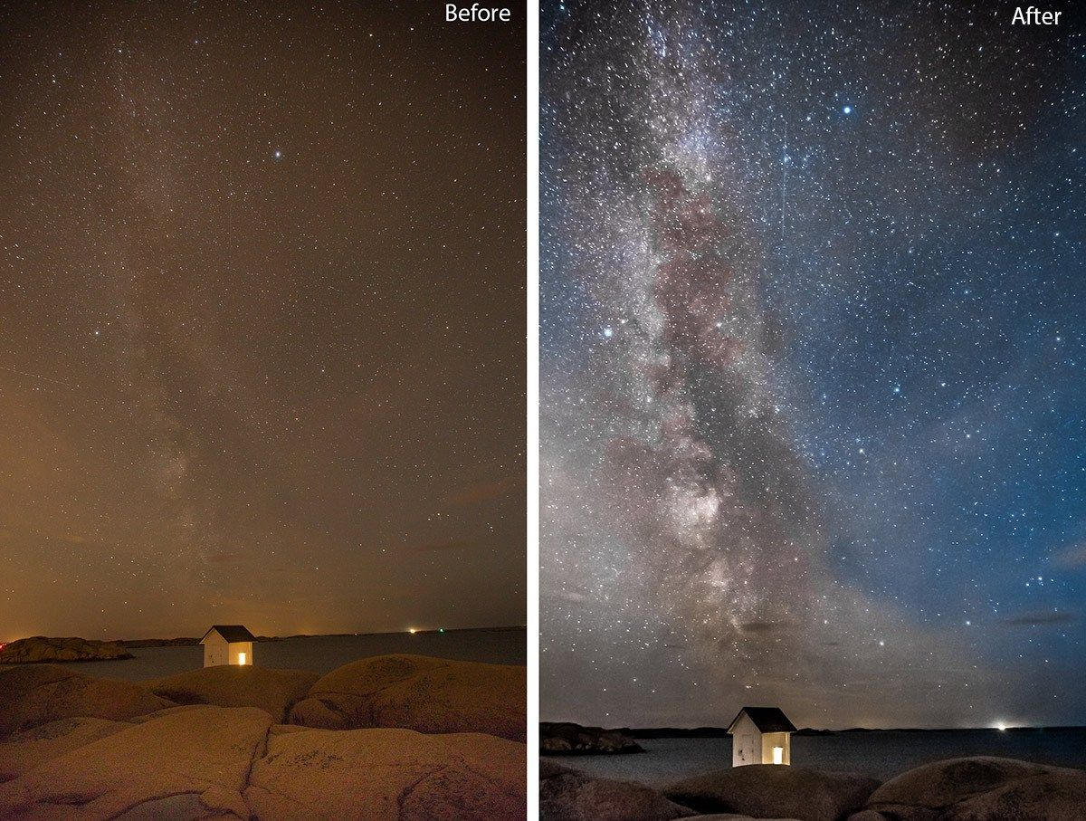 Before And After Editing The Milky Way In Lightroom Lightroom Tutorial Lightroom Astrophotography