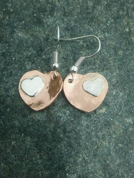 f12bec5e2 Copper earrings with a touch of Silver Copper earrings Heart. #earrings # mixedmetal #silverearrings #copperearrings #boho #handmade #handcrafted