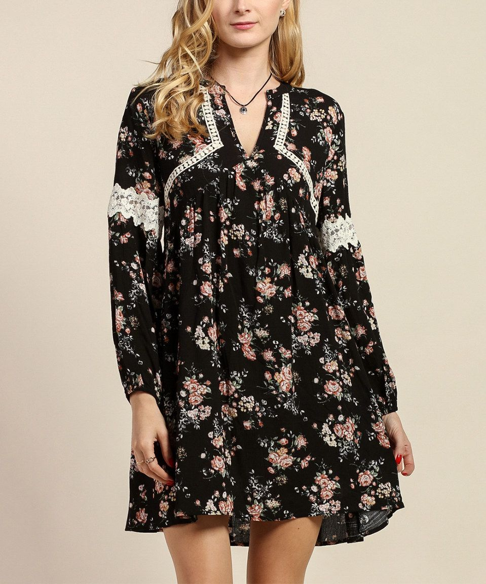 Look what I found on #zulily! Tassels N Lace Black Floral Crochet-Accent Shift Dress by Tassels N Lace #zulilyfinds