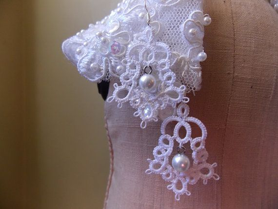 Tatting  Needle Tatted Wedding Jewelry by sewingnanac on Etsy, $8.00