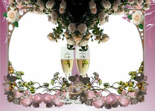 Свадебные Обручальные кольца, шампанское, розы. Для ...