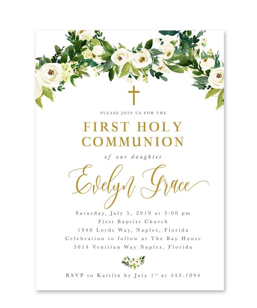 Evelyn Floral And Greenery First Holy Communion Invitation First Communion Invitations Holy Communion Invitations Communion Invitations