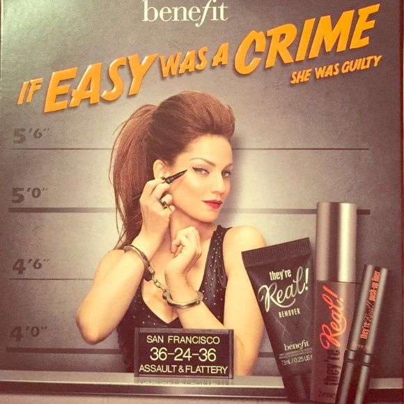 Benefit 'They're Real!' Samples  Unused samples of:                                          They're Real! PUSH-UP LINER 0.10 g Net wt.            They're Real! MASCARA 3.0 g Net wt.                   They're Real! REMOVER 7.5 mL.                             By far some of my favorite products!  Benefit Makeup