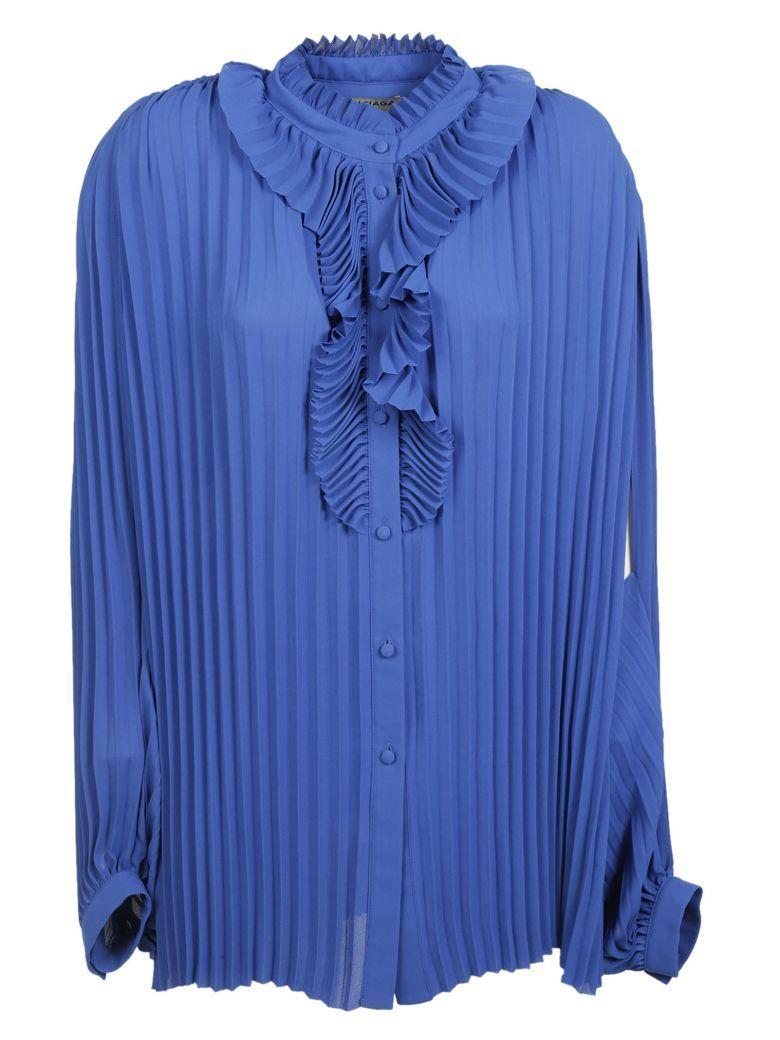 e27b672596d07 BALENCIAGA Balenciaga  Blue Allover Pleated Blouse.  balenciaga  cloth