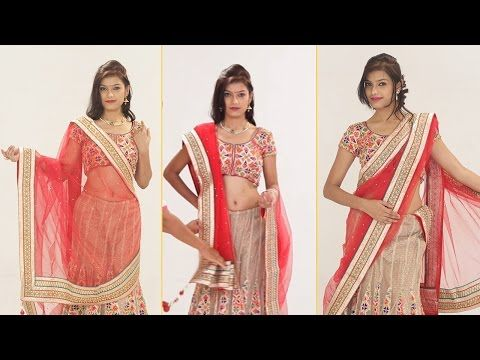 e1f2d0d1eb5aad How To Wear Lehenga Saree To Look Slim Step By Step – 5 Gorgeous Ways To  Drape Lehenga Dupatta - YouTube