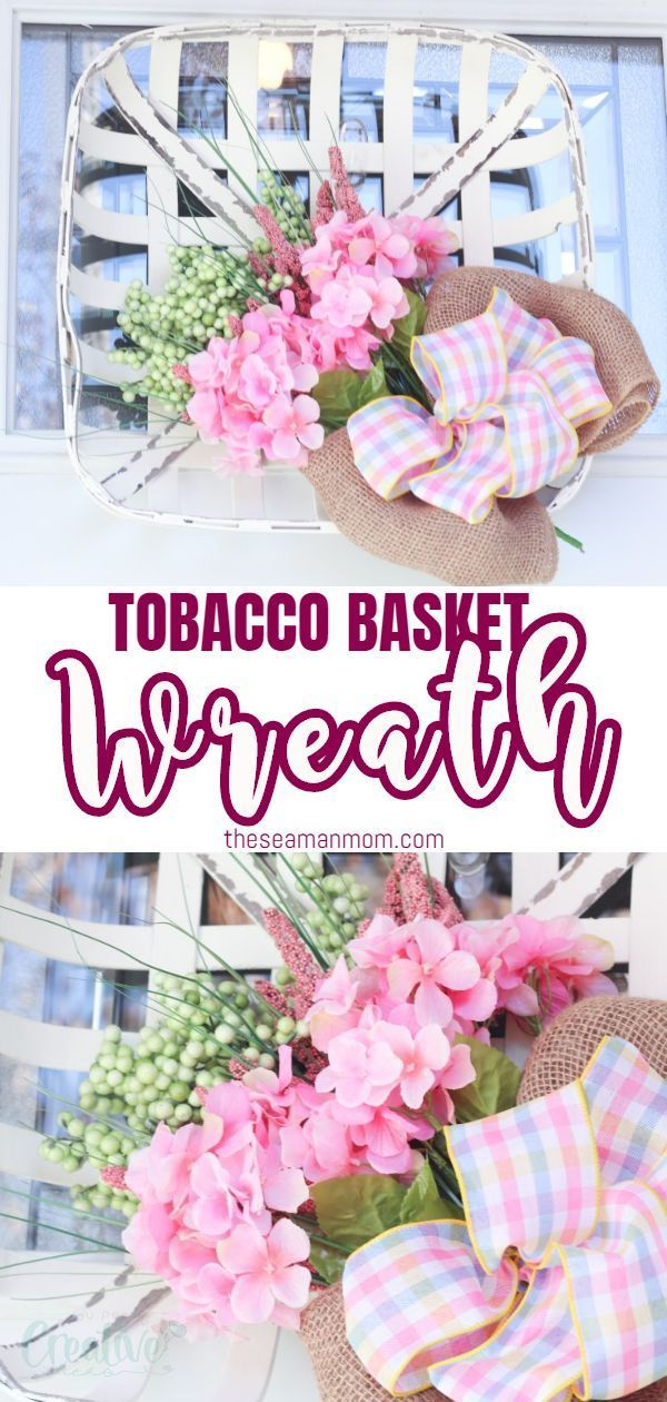 If you're looking for farmhouse spring decor that won't break your budget, this tobacco basket wreath is the perfect piece! This spring front door decor is really beautiful and interesting and you'll love the simple farmhouse feel it brings to your front door! #easypeasycreativeideas #wreath #wreathideas #spring #springdecor #springwreath #tobaccobasket #springcrafts #homedecor #springideas