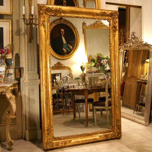 H 182 cm miroir dor fleuri epoque restauration circa 1830 for Restauration miroir ancien
