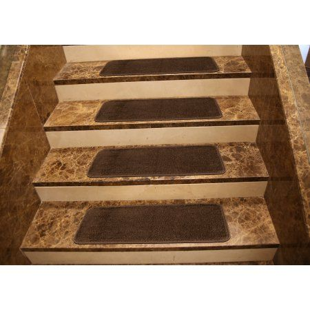Softy Stair Treads Solid Skid Resistant Rubber Backing Non Slip Carpet Tread Mats 9 Inch X 31 Brown
