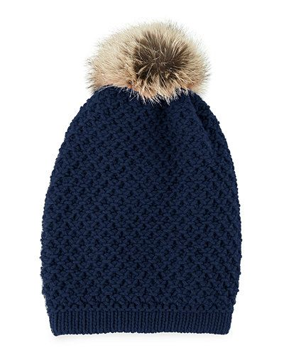 #neimanmarcus Inverni Cashmere Long Beanie with Fox Pompom - $128 (save 55%) #inverni #beanie #accessories