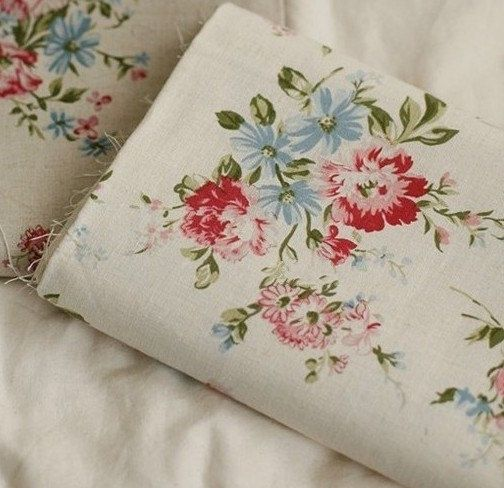 Vintage Floral Fabric with Peony flower Linen Cotton fabric