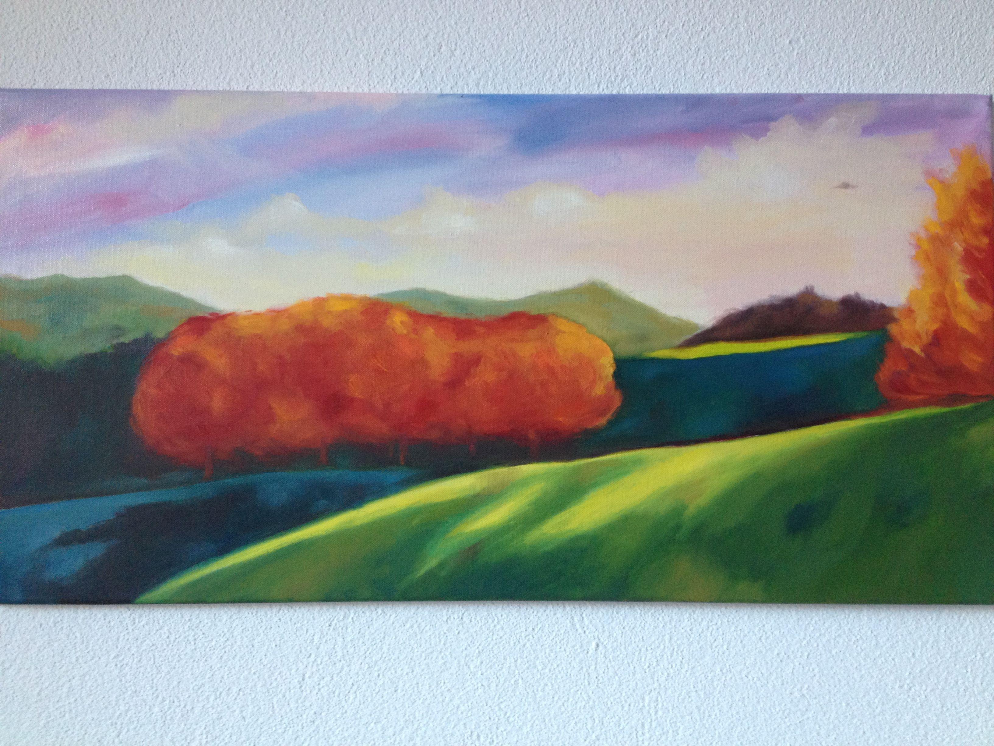 LANDSCAPE WITH UFO oil on canvas By Claudia Nanni Fine Art