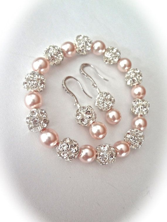 d4a592ca1e27 Pearl bracelet and earring set Chunky Swarovski pearls Sterling ear ...