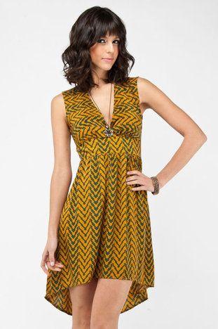 Incan Zipper Tank Dress in Mustard and Green $48 at www.tobi.com