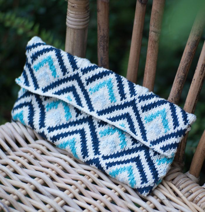 Free Knitting Pattern For Geometric Clutch Small Bag With Bright