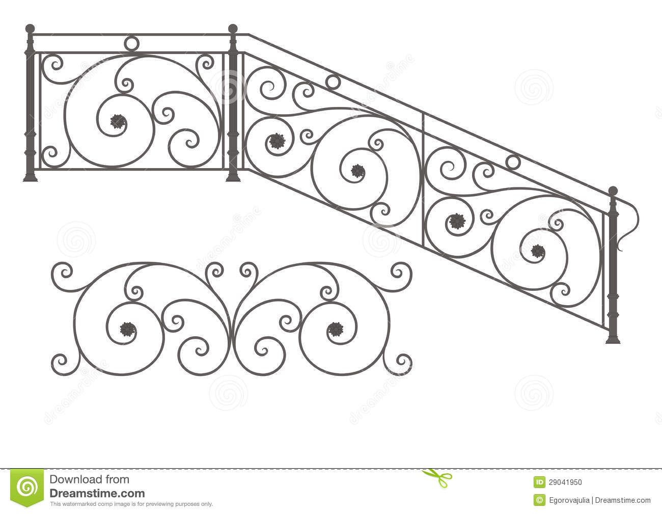Vector Wrought Iron Modular Railings And Fences Stock