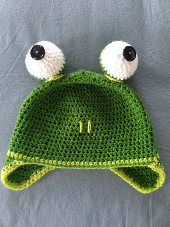 Crochet Frog Hat for babies/children and adults! Handmade and made ...