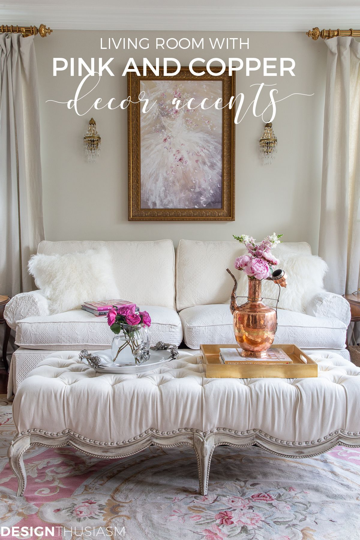 Adding Warmth To Your Living Room Decor With Pink And Copper Accents French Country Decorating French Country Rug French Home Decor