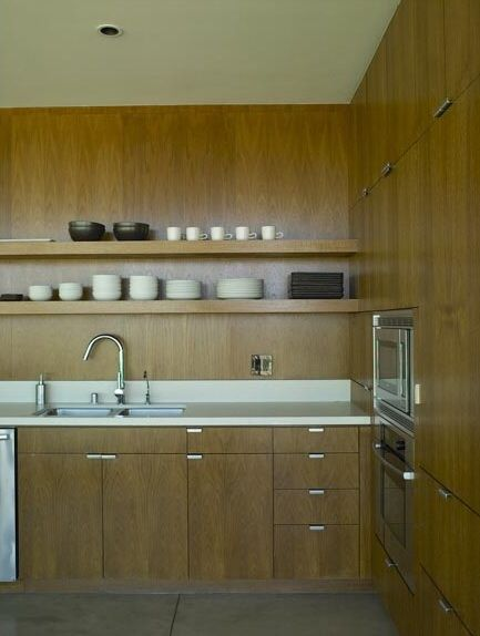 kitchens-cabinets-open-shelving-wood-walls drawer pulls. Cabinets need to be darker