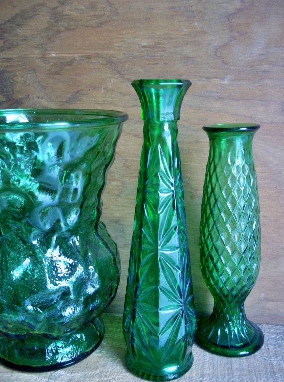 Set 3 Vintage Eo Brody Glass Vases Emerald Green Cut Glass Home