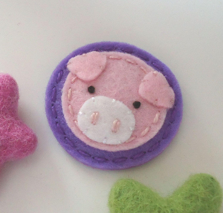Felt hair clip No slip Wool felt Pig lavender by MayCrimson