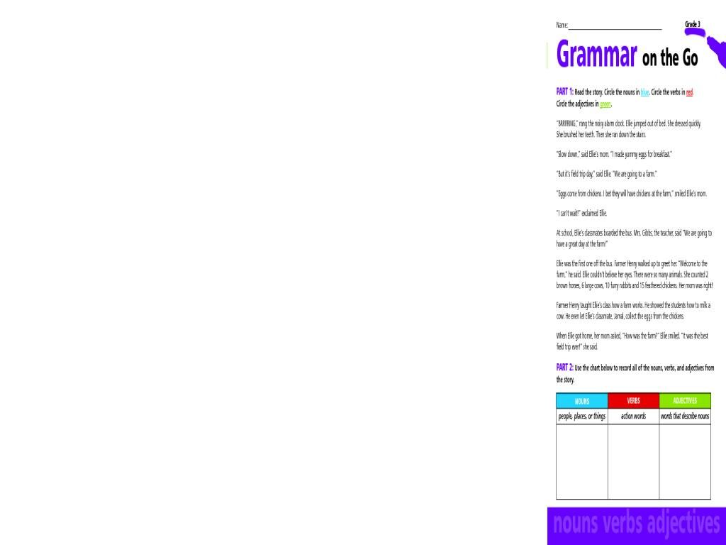 42 Nouns And Verbs Worksheets For Grade 5