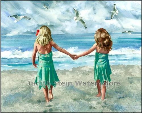 "Beach Girl Friends ""Rompin' Room"" Watercolor Painting Art Print Judith Stein | eBay"