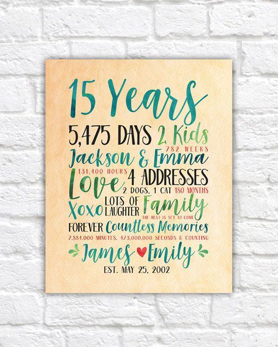 Gift For 15 Wedding Anniversary: Modern Anniversary Gift Idea, Choose Any Year Wedding Or