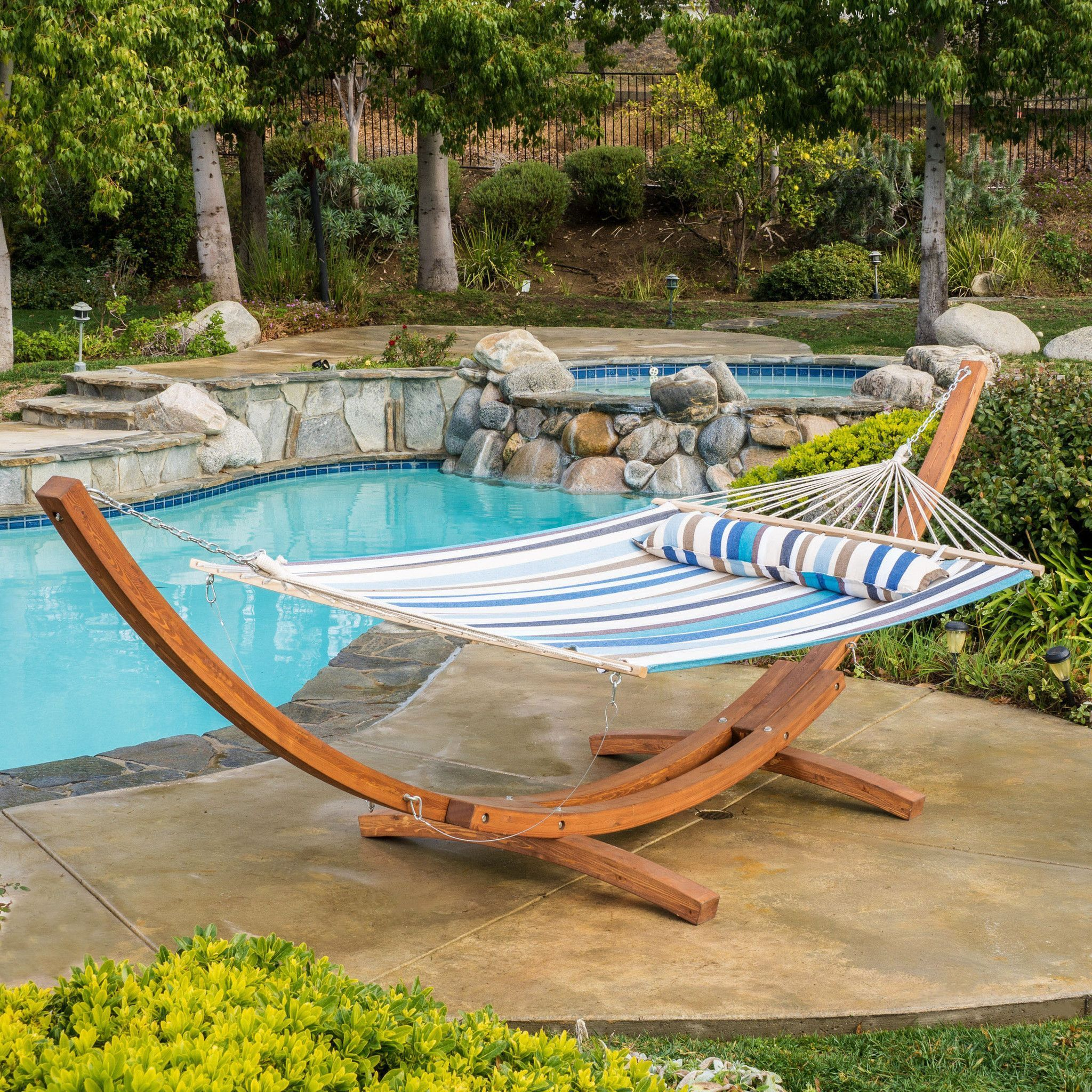 Anthony multiblue stripe canvas hammock with stand woods luxury
