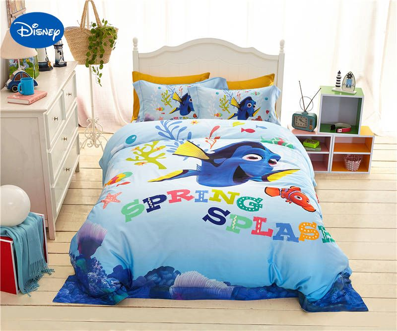 disney cartoon finding nemo fish printed bedding for girl's