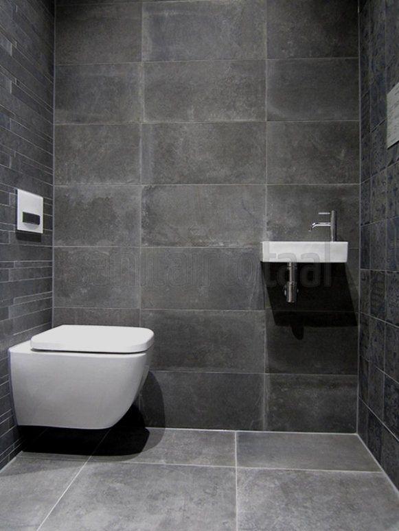 Badkamer betonlook tegels, toilet betonlook, cire | #bathroom ...