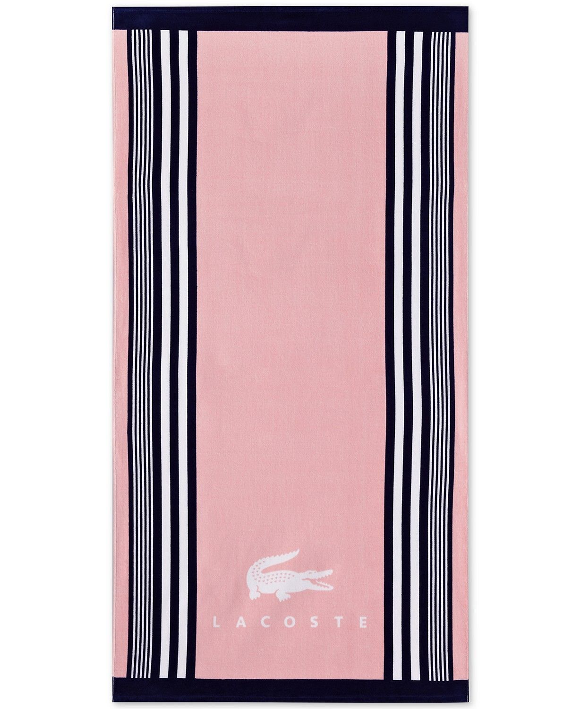 """LACOSTE Pop Cotton Stripe Logo-Print 36/"""" x 72/"""" Beach Towel"""