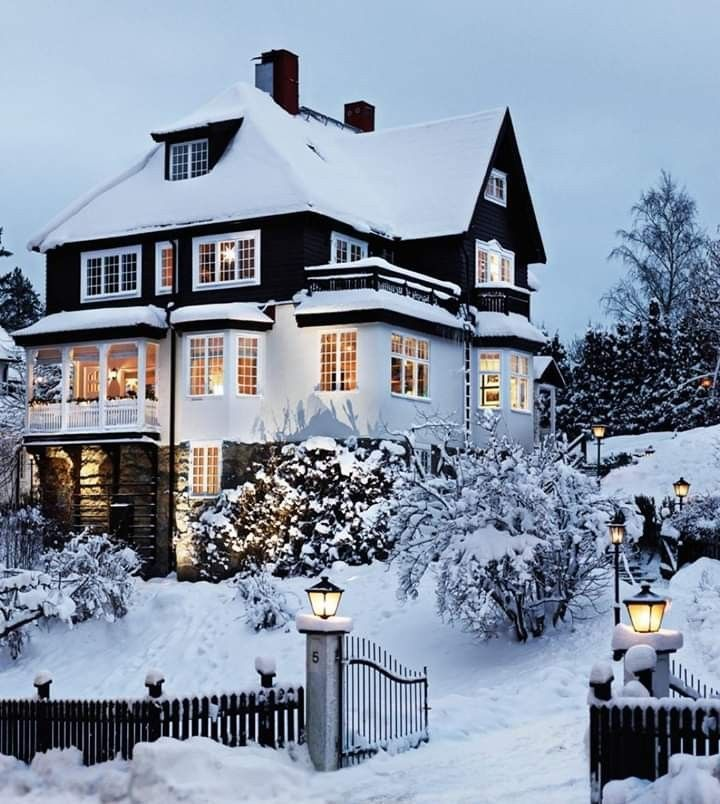 Photo of Winter travel destinations Snowy winter house, Cozy winter scene, winter photogr…