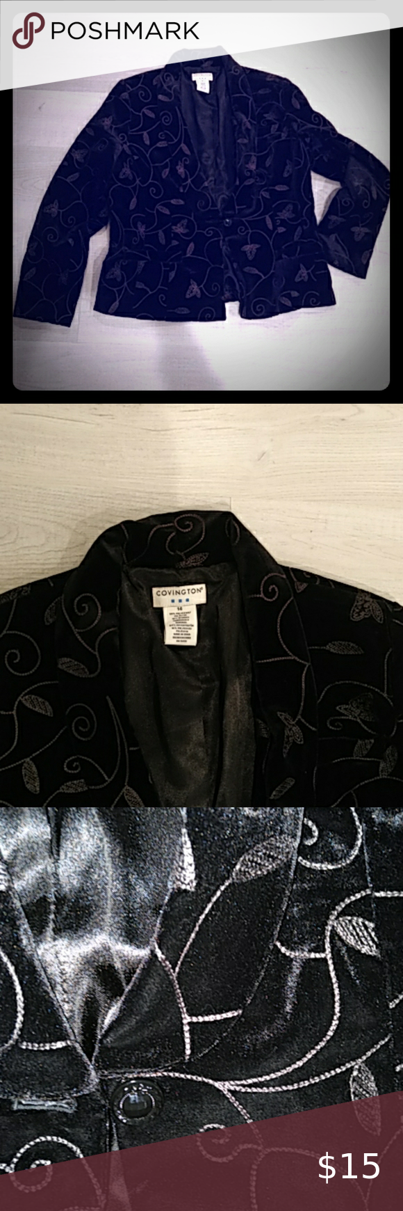 Covington Leafy Velvet Blazer White Jacket Women Blazers Womens Black Blazer Black Blazer Business Casual [ 1740 x 580 Pixel ]