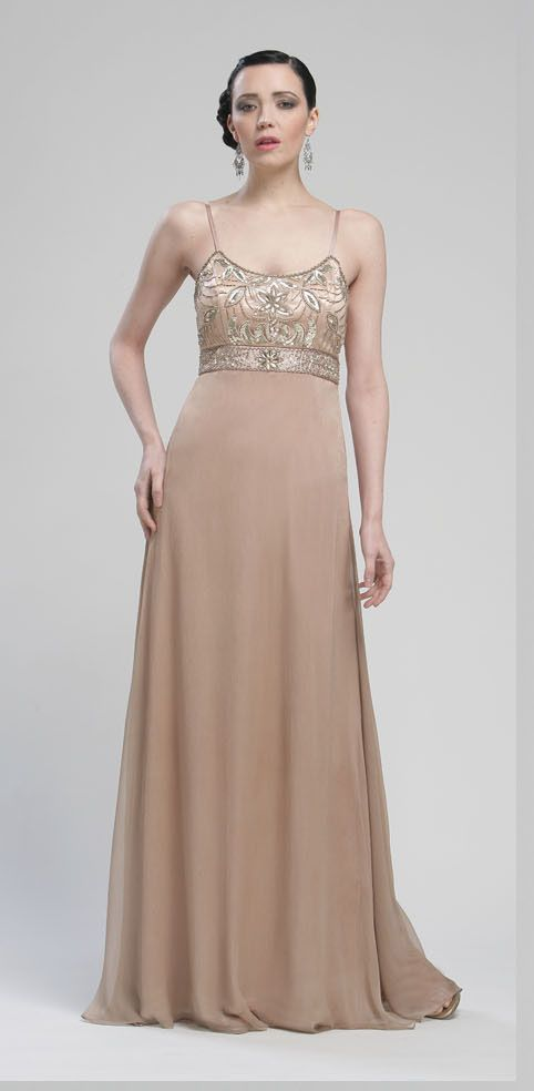 Caramel Beaded Chiffon Empire Waist Spaghetti Strap Prom Dress ...