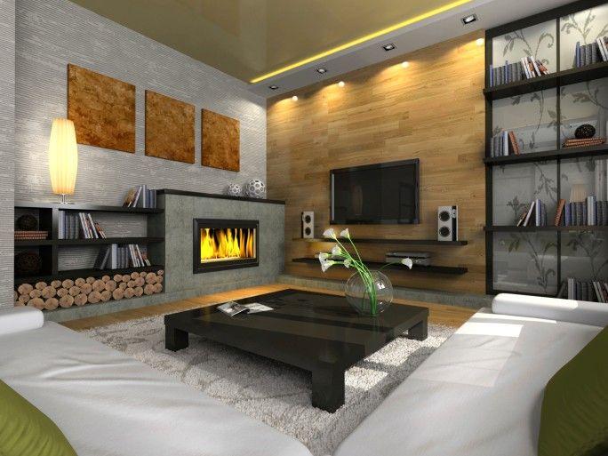 Ecke Gegenberliegende Wohnzimmer Mit Gaskamin 2 Weissen Sofas Holz Und Ziegel Wand Auf