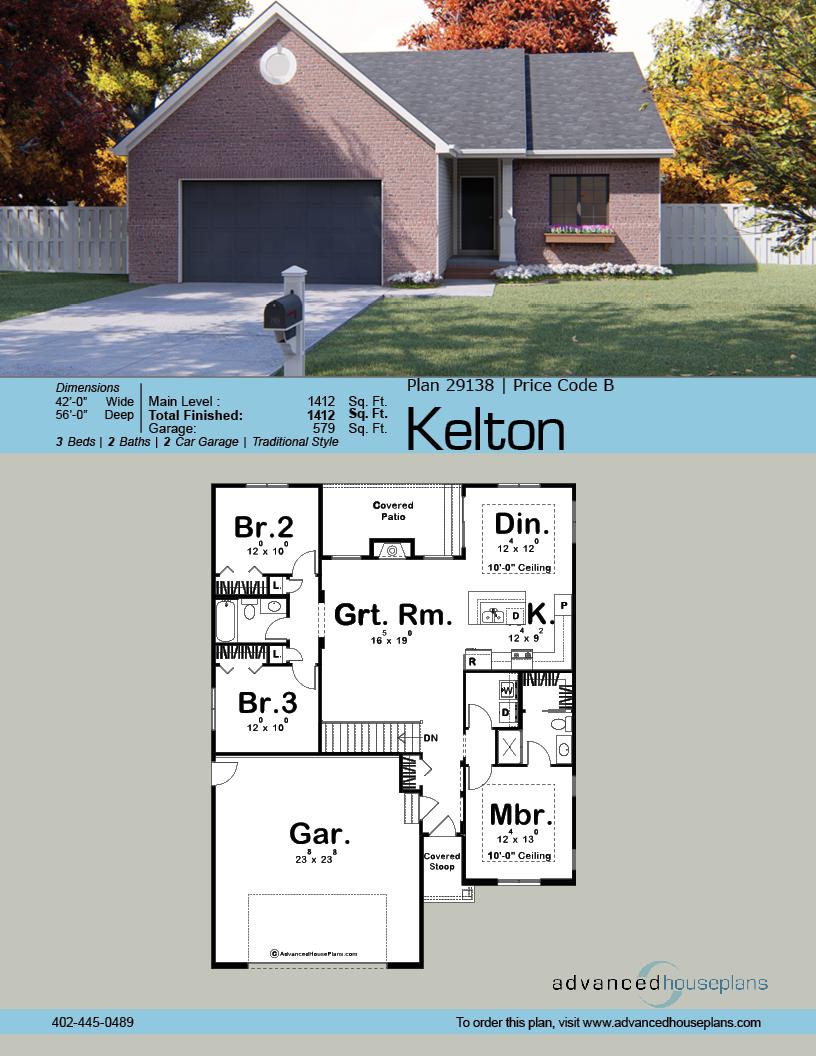 Kelton 1 Story Traditional House Plan Garage House Plans New House Plans House Plans