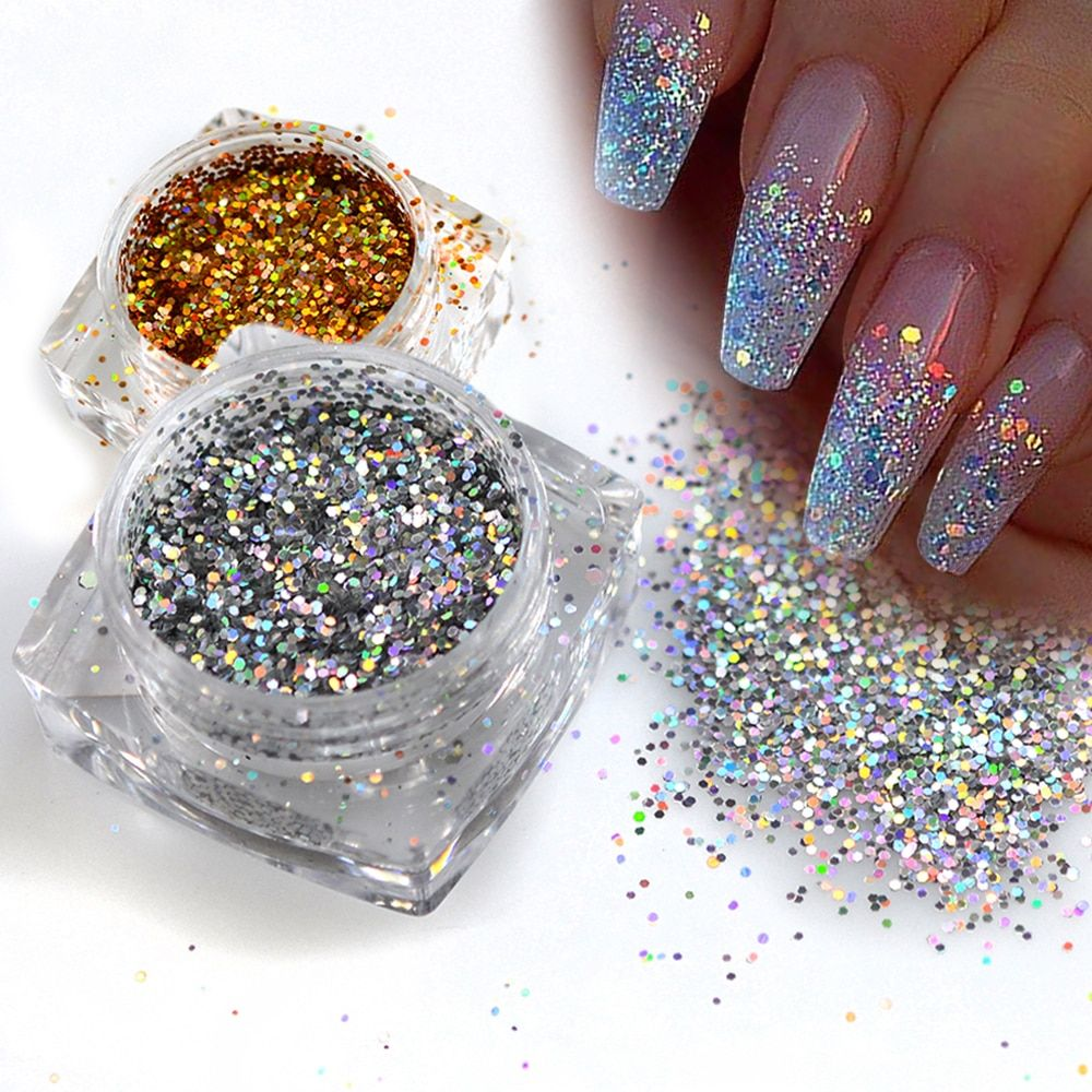 Hexagon Shape Glitter Nail Sequins Price: 7.95 & FREE
