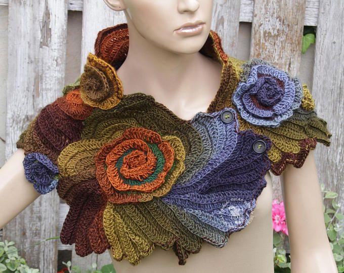 Crochet Neck Warmer Roses Scarf Freeform crochet shades Blue brown ...