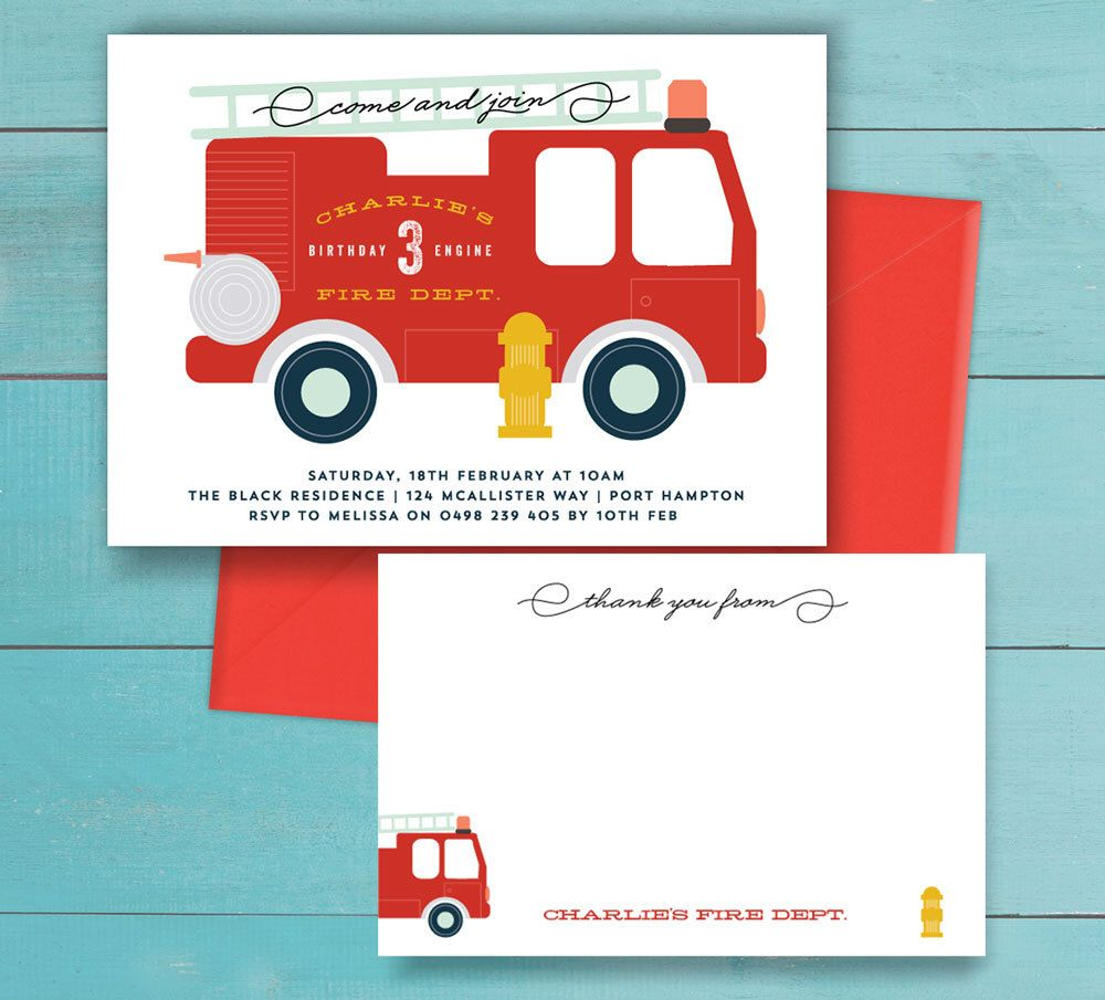 Fire Truck Birthday Party Invitation and thank you note - printable ...