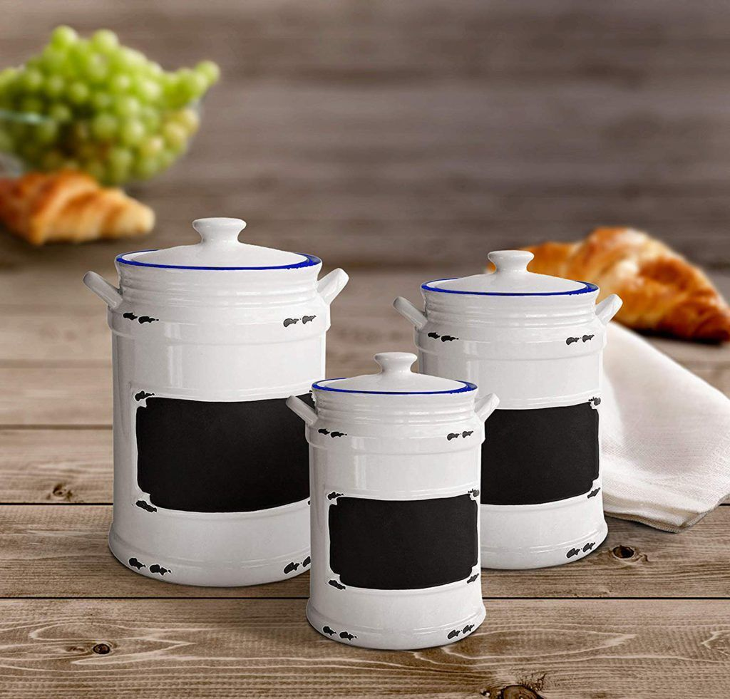 These vintage style kitchen canister sets are crafted from ceramic and feature b...#canister #ceramic #crafted #feature #kitchen #sets #style #vintage