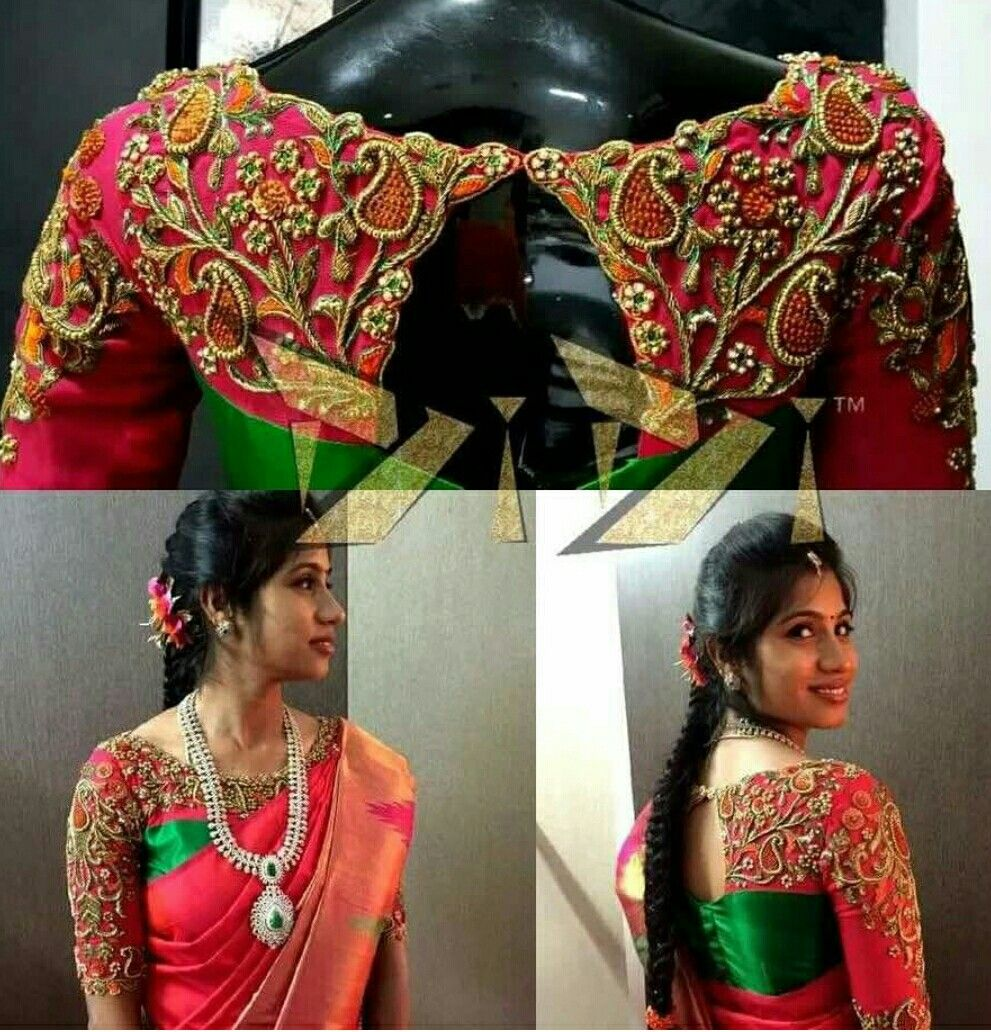 Silk saree blouse designs without embroidery lov the embroidery  blouses  pinterest  embroidery blouse