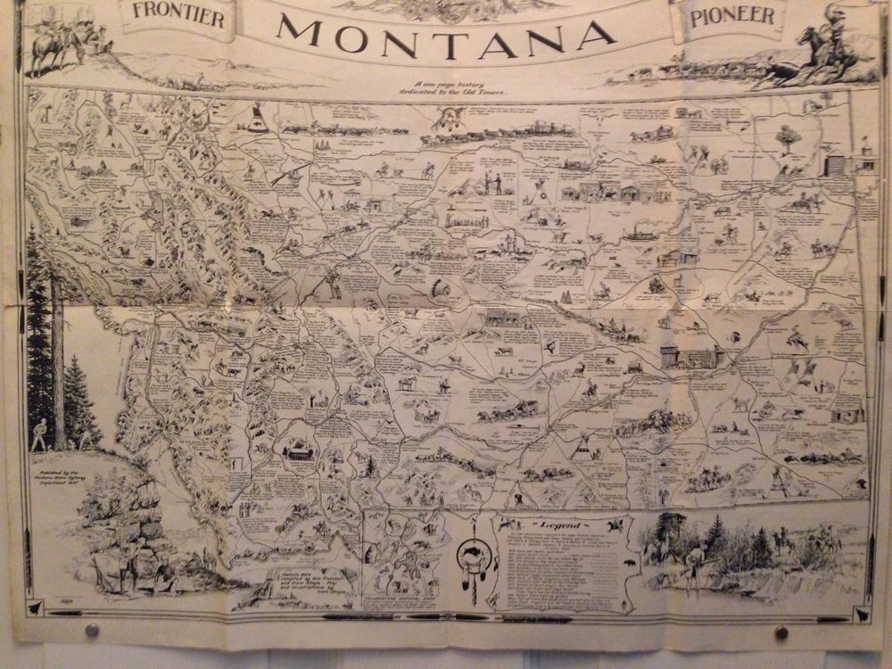 Antique map montana depicted inscribed pioneer history