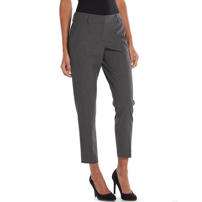Apt 9 Womens dress pants slim straight mid rise grey petites size 8P 14P NEW  19.99 http://www.ebay.com/itm/-/262528917148?