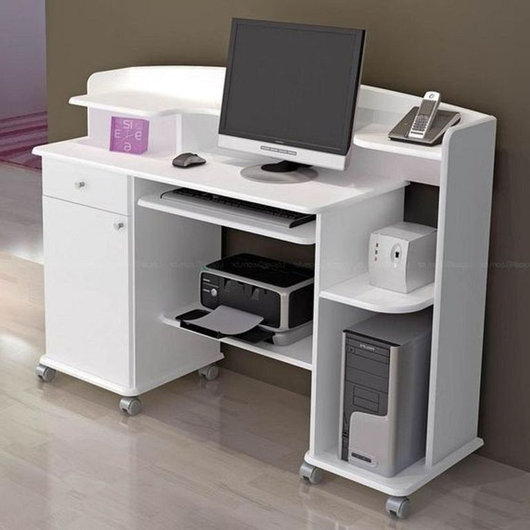 21 Top Modern Computer Desk Designs In White Color Designideas Designerjewelry Designsforlivingroom Computer Desk Design Small Computer Desk Desk Design