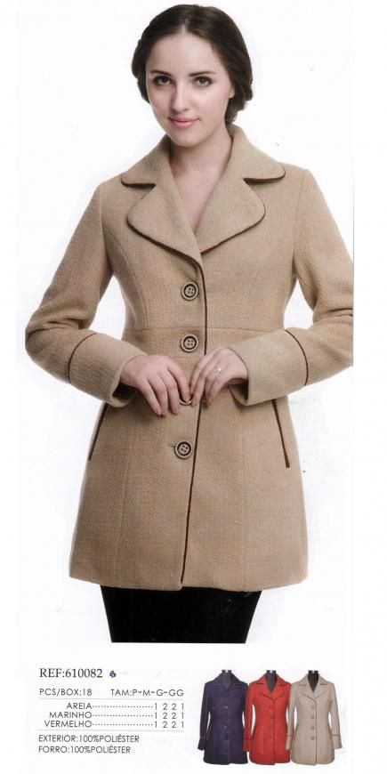 acc9a1bbf Casaco Lã Batida - Ref: 610082 | Suits women | Fashion, Coat e ...