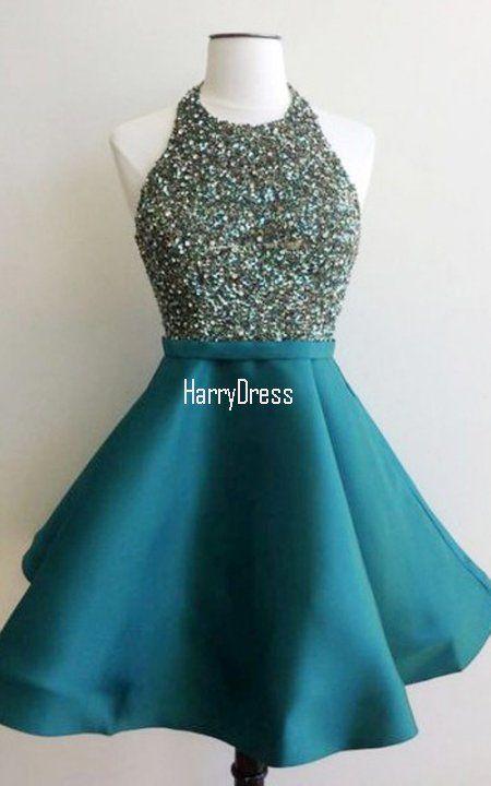 ba1f6db67ce Teal Sleeveless Mini Halter Satin Open Back A Line Beading Crystal Short  Homecoming Dress